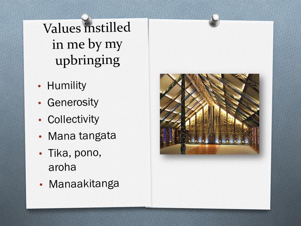 Values instilled in me by my upbringing Humility Generosity Collectivity Mana tangata Tika, pono, aroha Manaakitanga