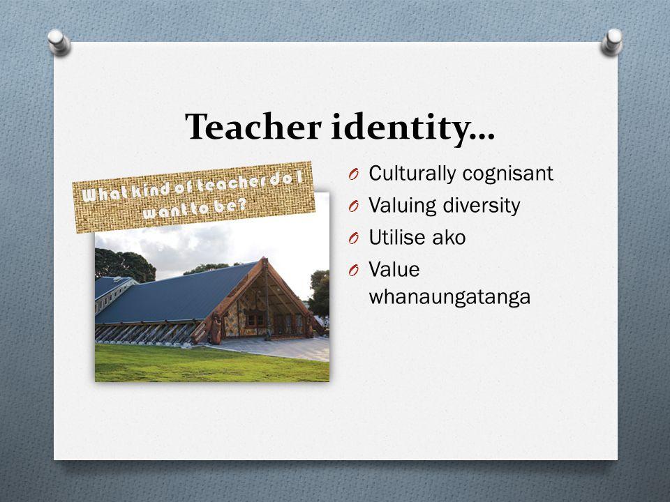 Teacher identity… O Culturally cognisant O Valuing diversity O Utilise ako O Value whanaungatanga