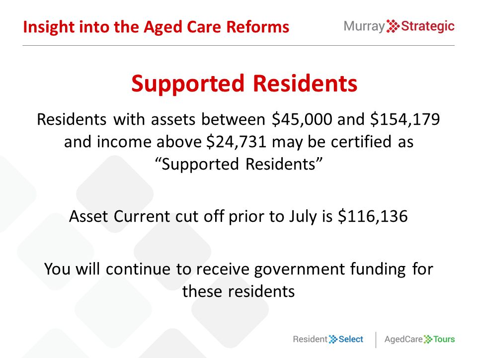 """Residents with assets between $45,000 and $154,179 and income above $24,731 may be certified as """"Supported Residents"""" Asset Current cut off prior to J"""
