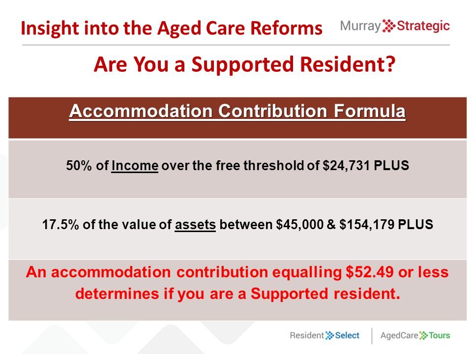 Are You a Supported Resident? Insight into the Aged Care Reforms Accommodation Contribution Formula 50% of Income over the free threshold of $24,731 P