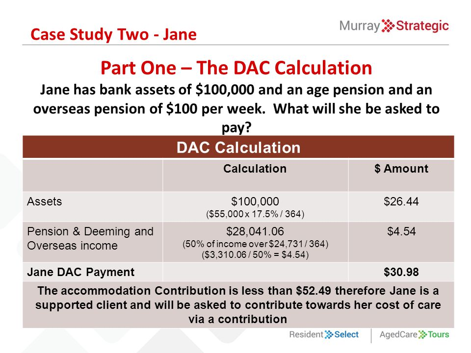 Part One – The DAC Calculation Jane has bank assets of $100,000 and an age pension and an overseas pension of $100 per week.