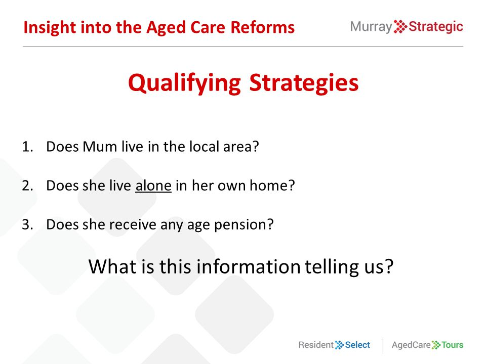 1.Does Mum live in the local area? 2.Does she live alone in her own home? 3.Does she receive any age pension? What is this information telling us? Ins