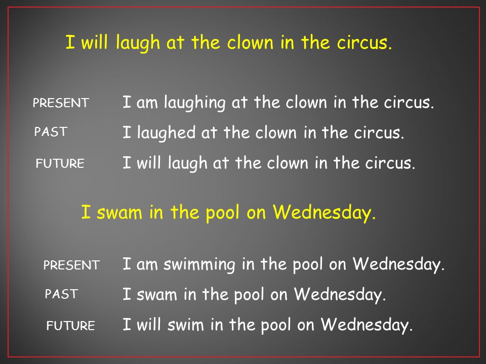 I will laugh at the clown in the circus.I am laughing at the clown in the circus.