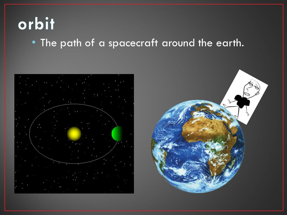 The path of a spacecraft around the earth.
