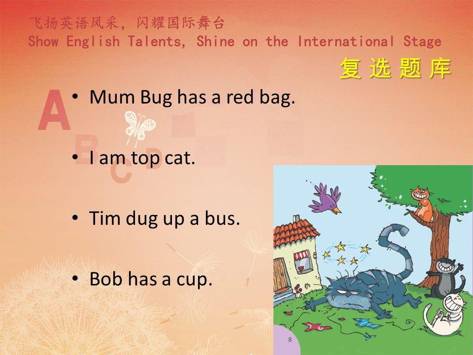 Bob is a bug. Bob Bug has a hug. Tom got a pot. Tom got a mop.