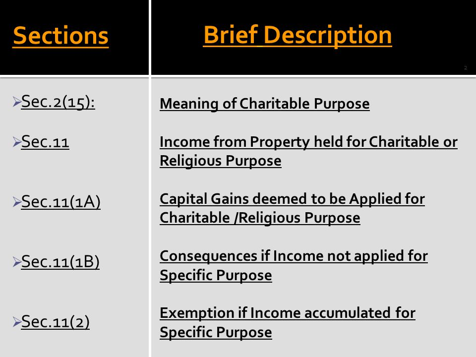 Sections  Sec.2(15):  Sec.11  Sec.11(1A)  Sec.11(1B)  Sec.11(2) Meaning of Charitable Purpose Income from Property held for Charitable or Religio