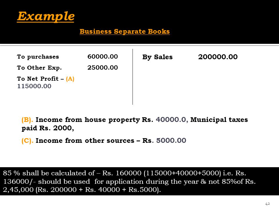 By Sales200000.00 To purchases 60000.00 To Other Exp. 25000.00 To Net Profit – (A) 115000.00 (B). Income from house property Rs. 40000.0, Municipal ta