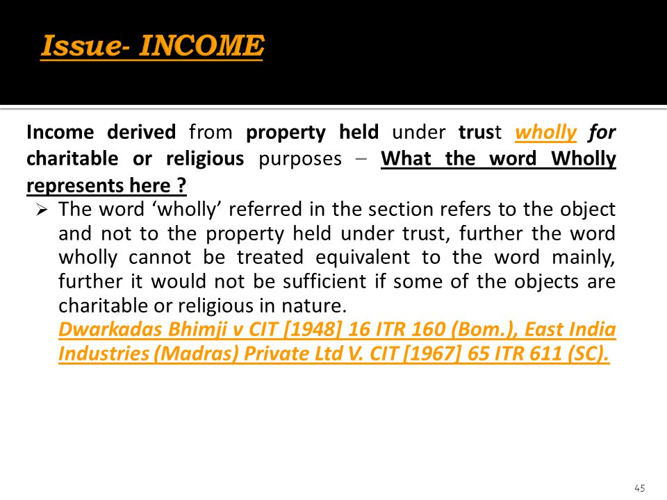 Income derived from property held under trust wholly for charitable or religious purposes – What the word Wholly represents here ?  The word 'wholly'