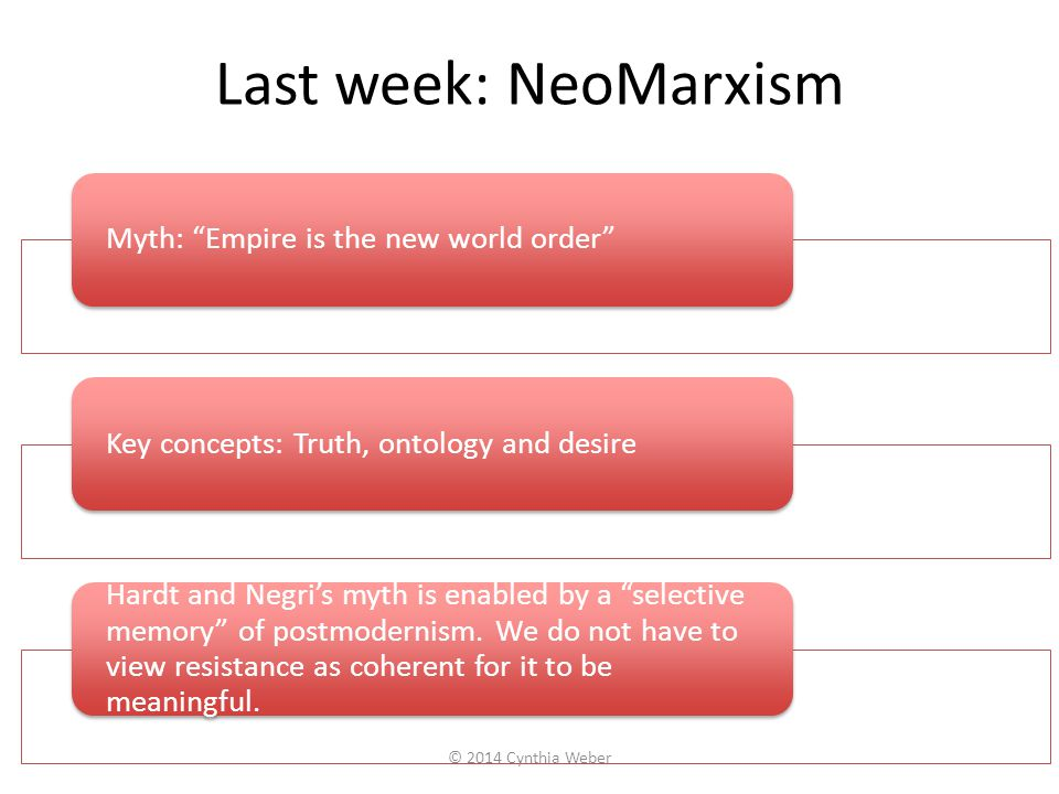 """Last week: NeoMarxism Myth: """"Empire is the new world order""""Key concepts: Truth, ontology and desire Hardt and Negri's myth is enabled by a """"selective"""