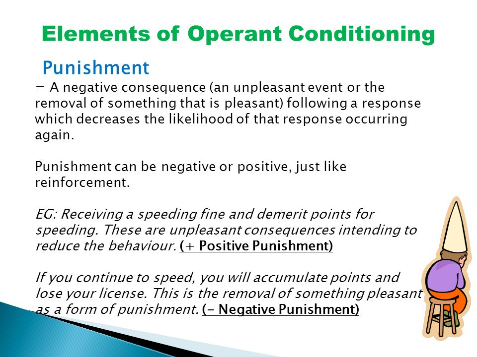 Elements of Operant Conditioning Punishment = A negative consequence (an unpleasant event or the removal of something that is pleasant) following a response which decreases the likelihood of that response occurring again.