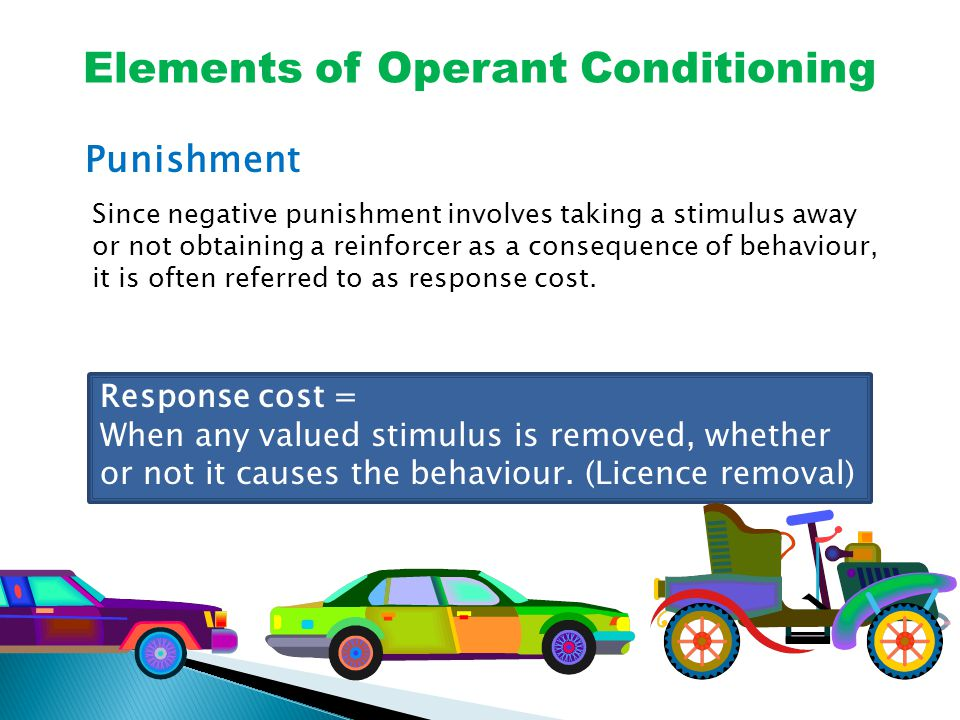 Elements of Operant Conditioning Punishment Since negative punishment involves taking a stimulus away or not obtaining a reinforcer as a consequence of behaviour, it is often referred to as response cost.