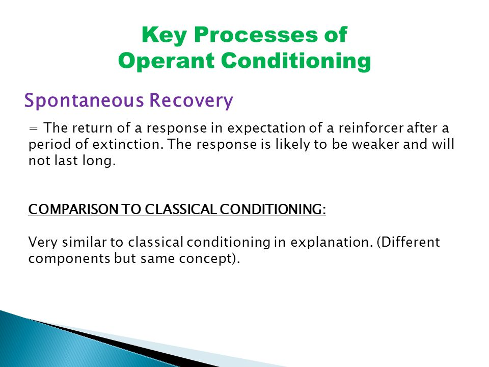 Key Processes of Operant Conditioning Spontaneous Recovery = The return of a response in expectation of a reinforcer after a period of extinction.