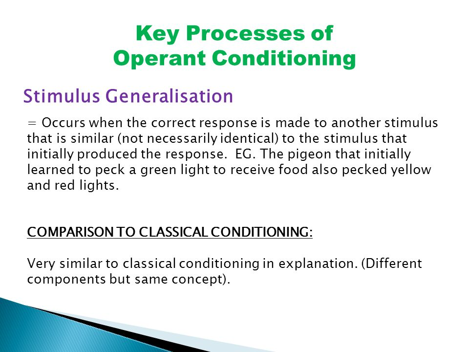 Key Processes of Operant Conditioning Stimulus Generalisation = Occurs when the correct response is made to another stimulus that is similar (not necessarily identical) to the stimulus that initially produced the response.