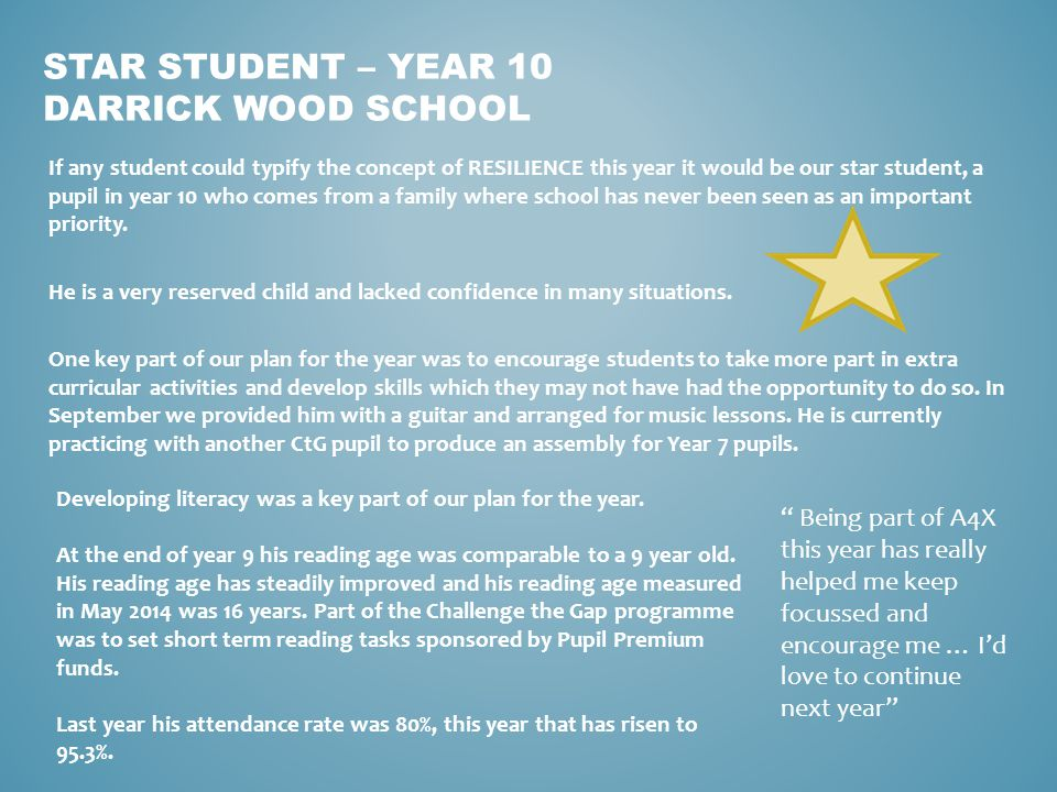 If any student could typify the concept of RESILIENCE this year it would be our star student, a pupil in year 10 who comes from a family where school has never been seen as an important priority.