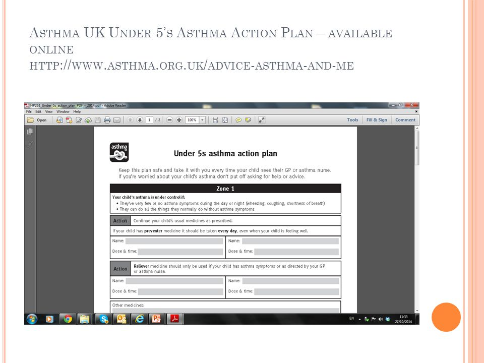 A STHMA UK U NDER 5' S A STHMA A CTION P LAN – AVAILABLE ONLINE HTTP :// WWW. ASTHMA. ORG. UK / ADVICE - ASTHMA - AND - ME