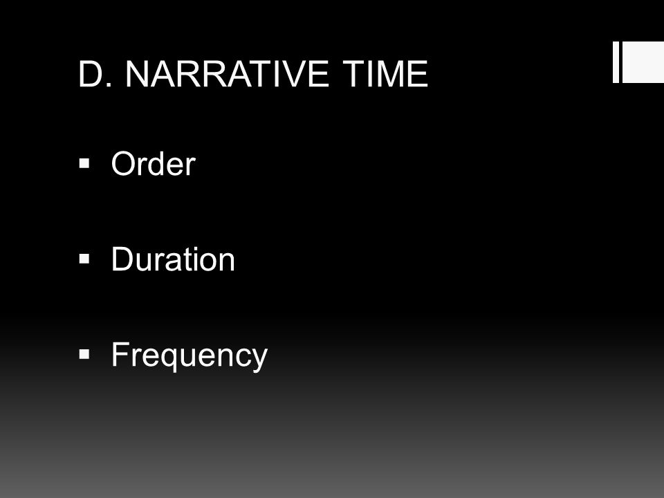 D. NARRATIVE TIME  Order  Duration  Frequency