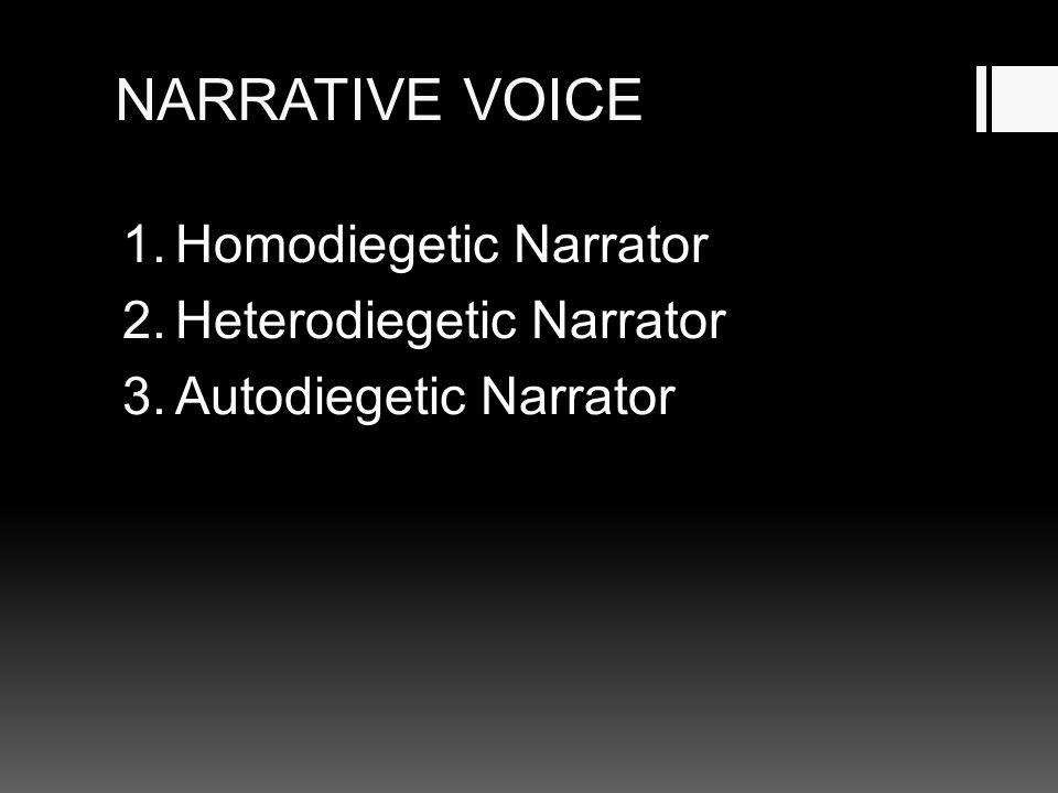 NARRATIVE VOICE 1.Homodiegetic Narrator 2.Heterodiegetic Narrator 3.Autodiegetic Narrator