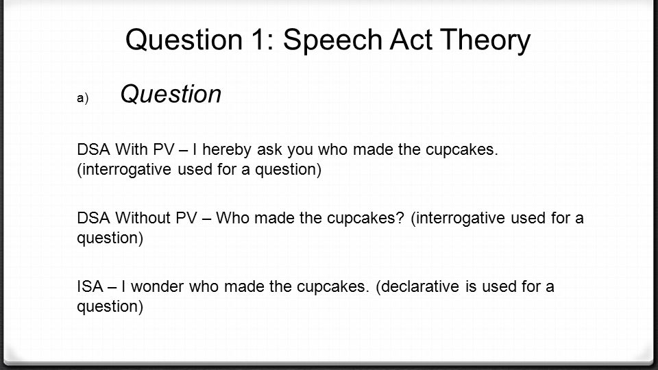 Question 1: Speech Act Theory b) Request DSA With PV – I request for your prayers during this difficult time.