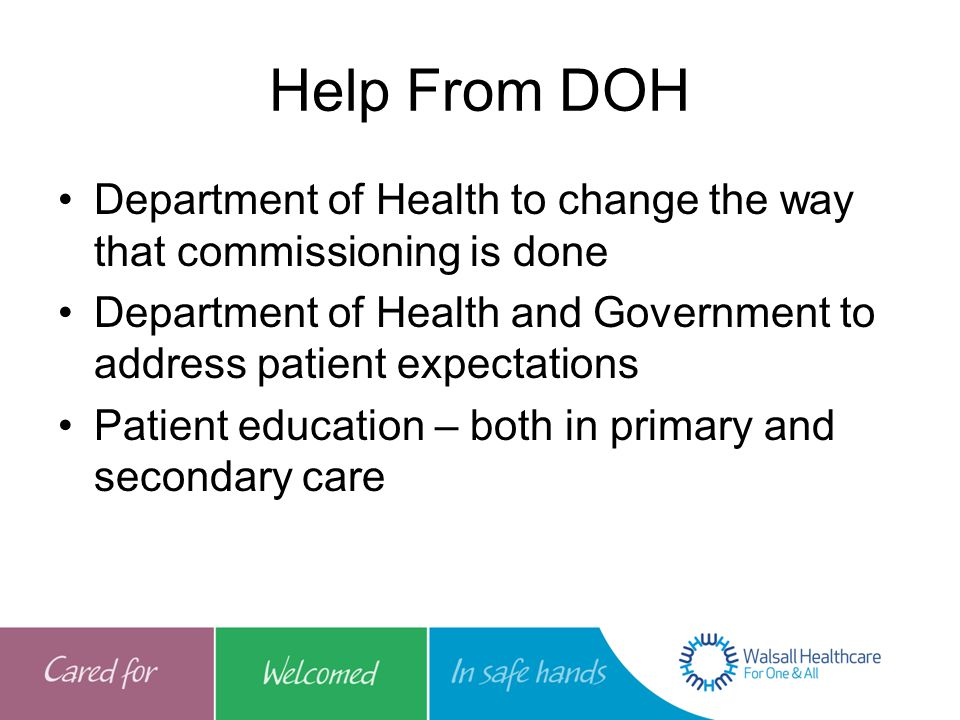 Help From DOH Department of Health to change the way that commissioning is done Department of Health and Government to address patient expectations Patient education – both in primary and secondary care