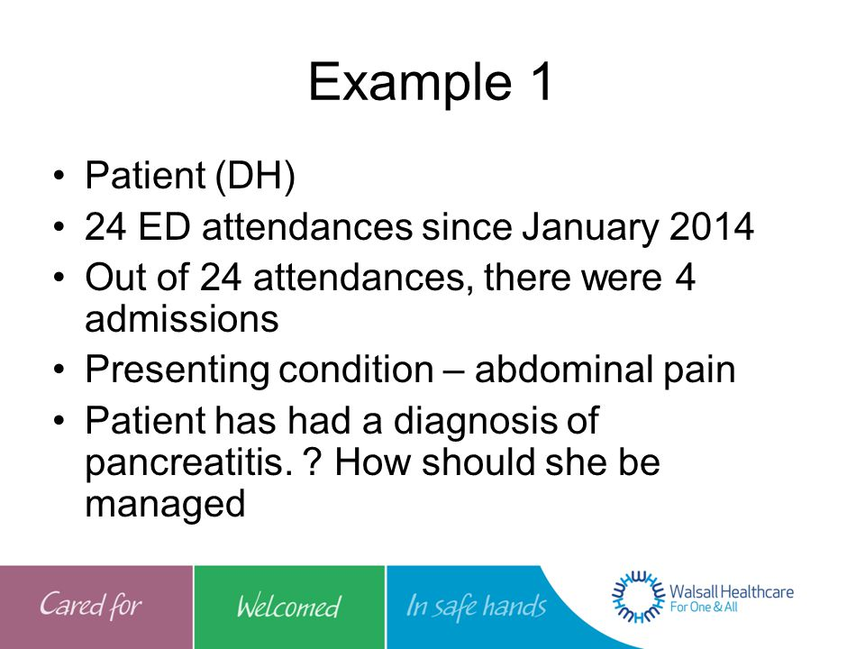 Example 1 Patient (DH) 24 ED attendances since January 2014 Out of 24 attendances, there were 4 admissions Presenting condition – abdominal pain Patient has had a diagnosis of pancreatitis.