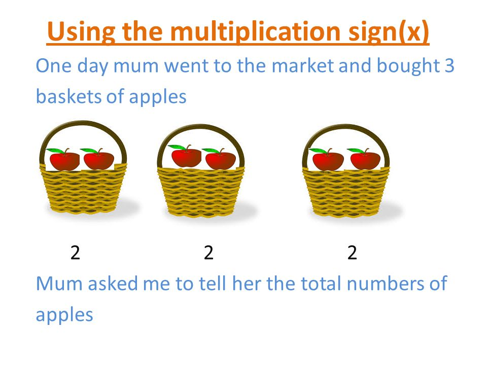 Using the multiplication sign(x) One day mum went to the market and bought 3 baskets of apples 2 2 2 Mum asked me to tell her the total numbers of apples