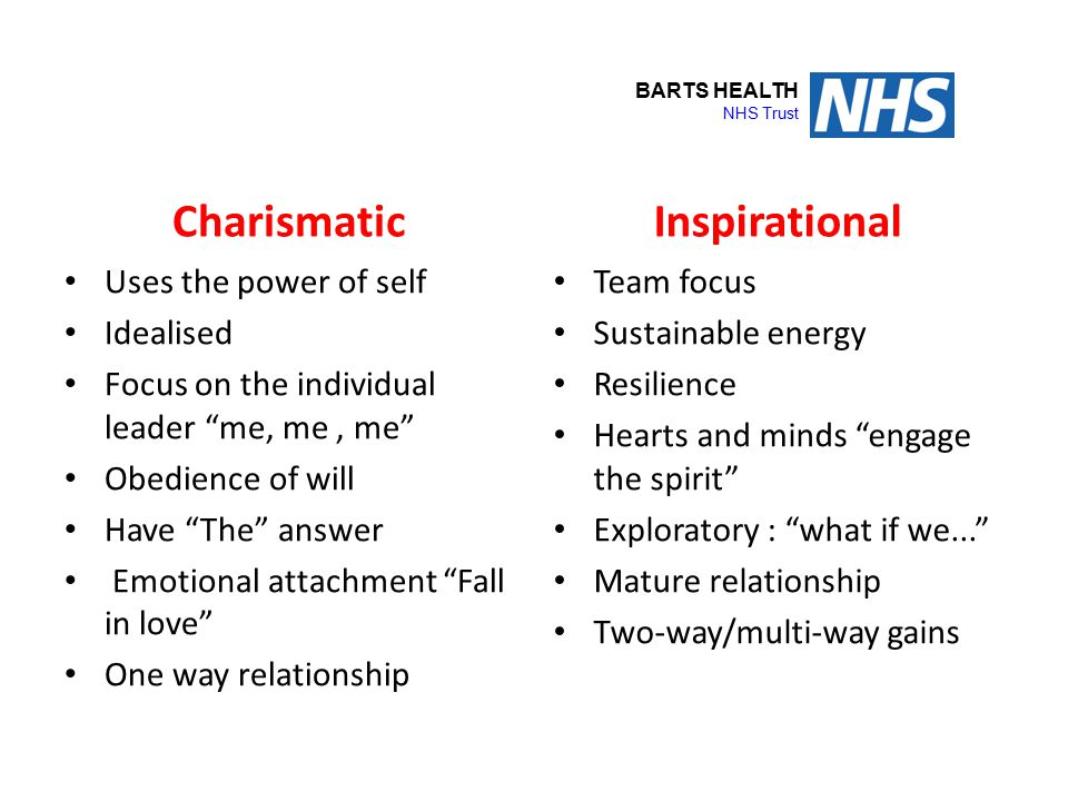 """Charisma OR Inspiration Charismatic Uses the power of self Idealised Focus on the individual leader """"me, me, me"""" Obedience of will Have """"The"""" answer E"""