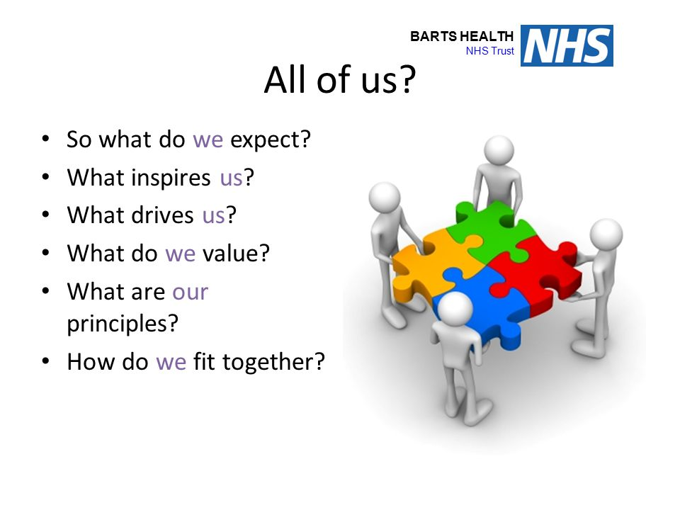 BARTS HEALTH NHS Trust All of us? So what do we expect? What inspires us? What drives us? What do we value? What are our principles? How do we fit tog