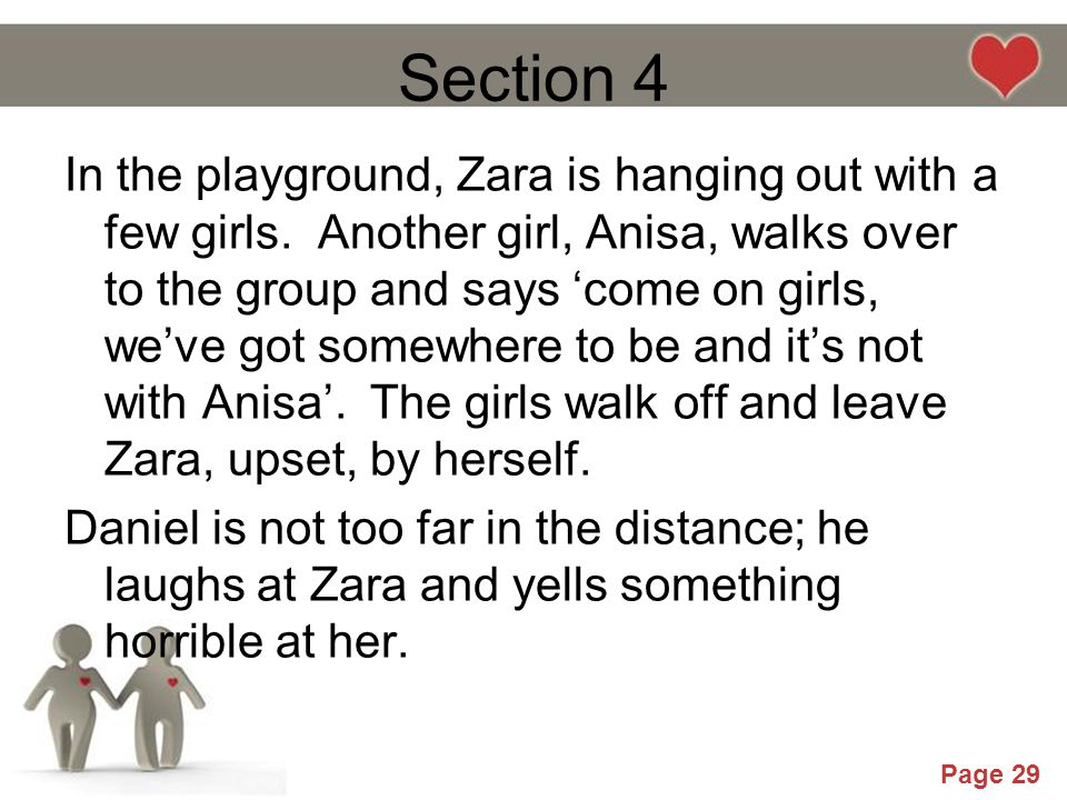 Powerpoint Templates Page 29 Section 4 In the playground, Zara is hanging out with a few girls. Another girl, Anisa, walks over to the group and says