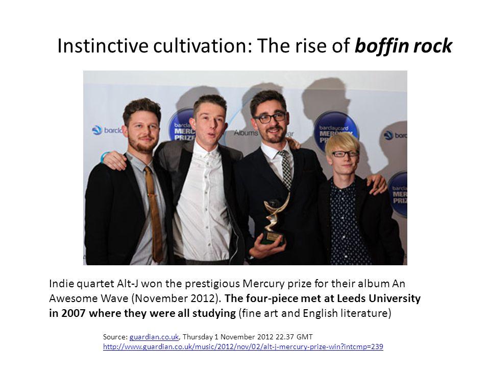 Source: guardian.co.uk, Thursday 1 November 2012 22.37 GMTguardian.co.uk http://www.guardian.co.uk/music/2012/nov/02/alt-j-mercury-prize-win intcmp=239 Indie quartet Alt-J won the prestigious Mercury prize for their album An Awesome Wave (November 2012).