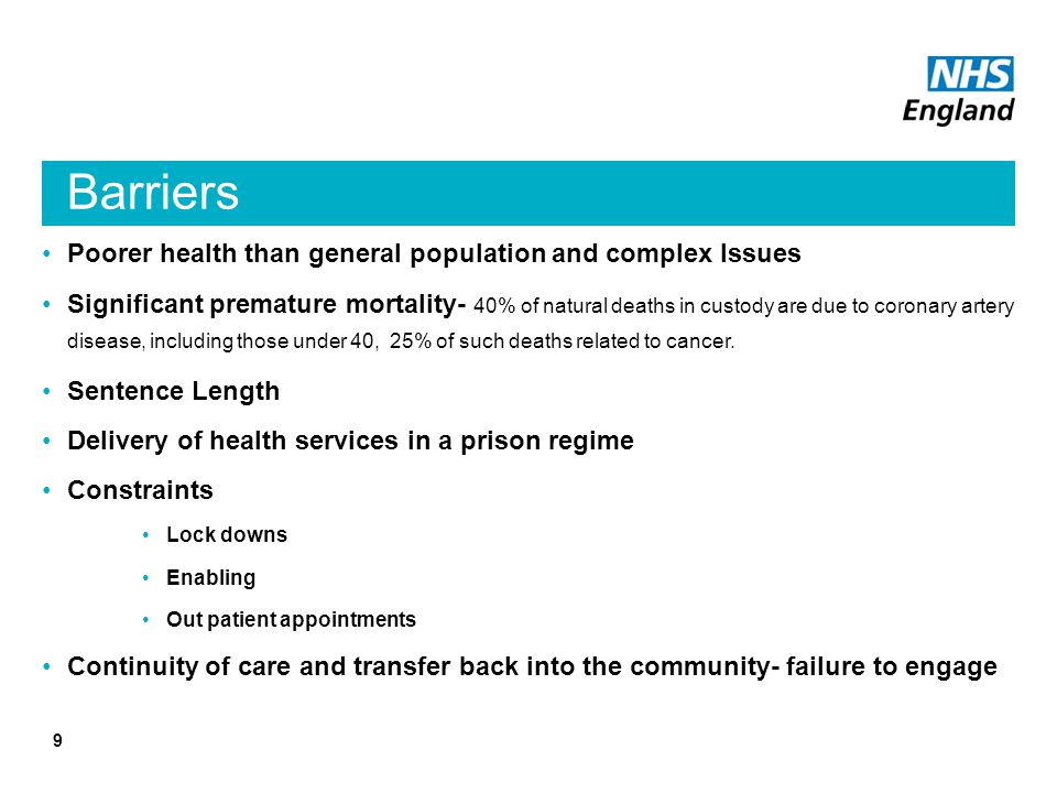 Barriers Poorer health than general population and complex Issues Significant premature mortality- 40% of natural deaths in custody are due to coronary artery disease, including those under 40, 25% of such deaths related to cancer.