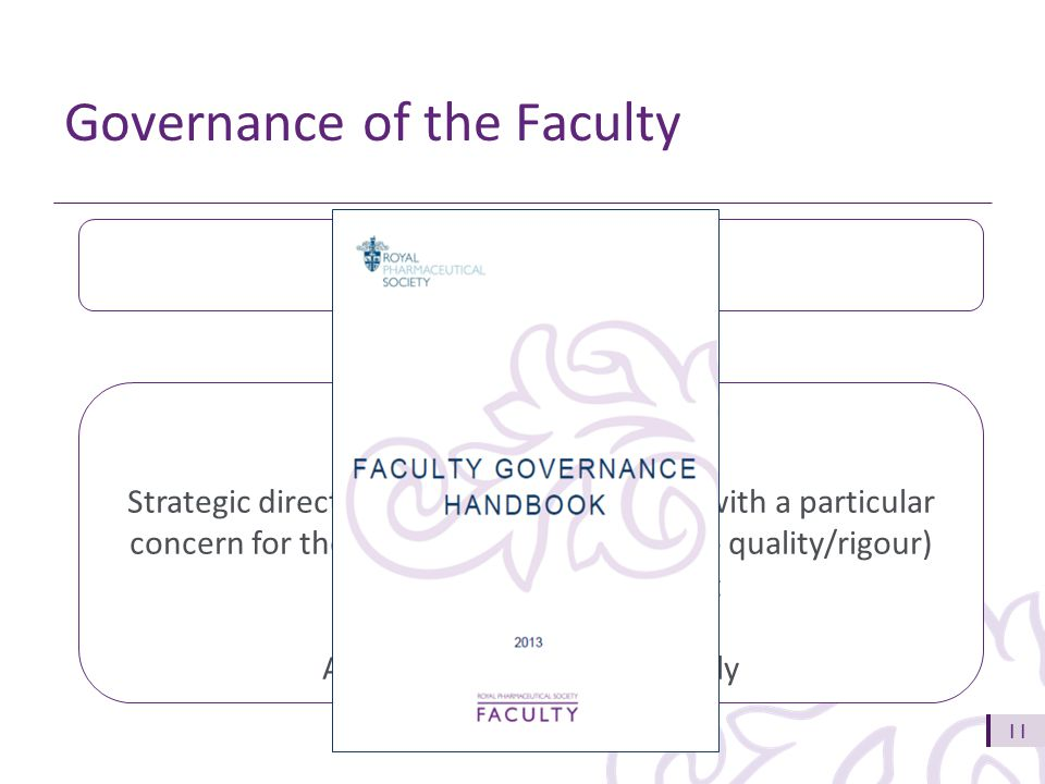 11 Governance of the Faculty RPS Assembly Faculty Board Strategic direction setting and oversight, with a particular concern for the RPS reputation (related to quality/rigour) and resource management Accountable to RPS Assembly