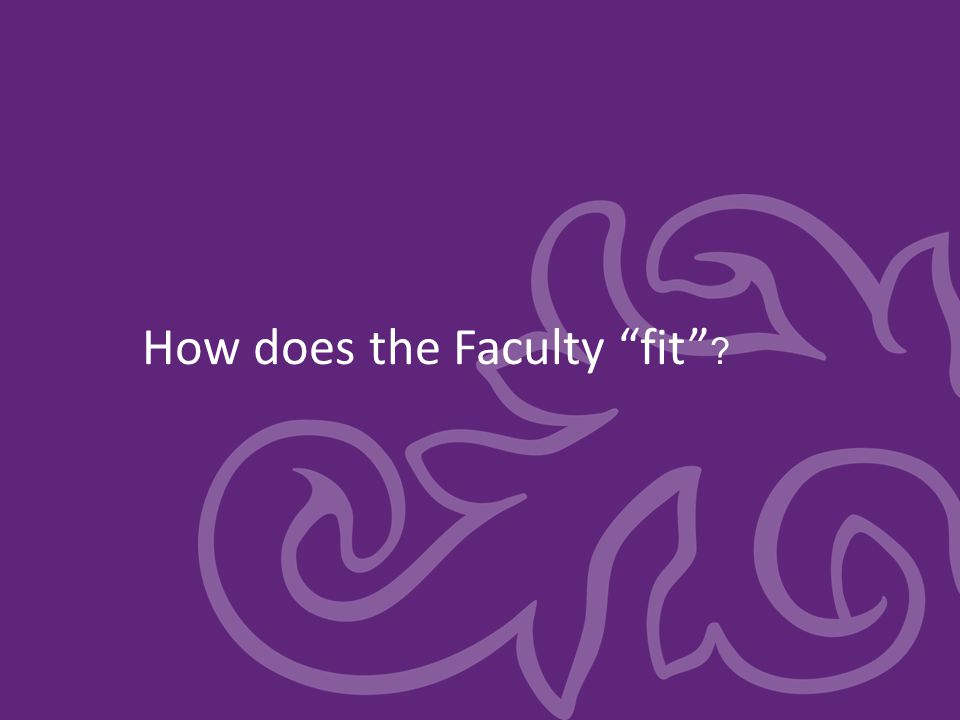 How does the Faculty fit ?
