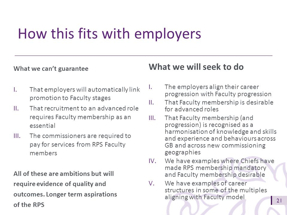 21 What we will seek to do I.The employers align their career progression with Faculty progression II.That Faculty membership is desirable for advanced roles III.That Faculty membership (and progression) is recognised as a harmonisation of knowledge and skills and experience and behaviours across GB and across new commissioning geographies IV.We have examples where Chiefs have made RPS membership mandatory and Faculty membership desirable V.We have examples of career structures in some of the multiples aligning with Faculty model What we can't guarantee I.That employers will automatically link promotion to Faculty stages II.That recruitment to an advanced role requires Faculty membership as an essential III.The commissioners are required to pay for services from RPS Faculty members All of these are ambitions but will require evidence of quality and outcomes.