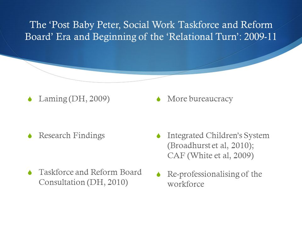 The 'Post Baby Peter, Social Work Taskforce and Reform Board' Era and Beginning of the 'Relational Turn': 2009-11  Laming (DH, 2009)  Research Findings  Taskforce and Reform Board Consultation (DH, 2010)  More bureaucracy  Integrated Children's System (Broadhurst et al, 2010); CAF (White et al, 2009)  Re-professionalising of the workforce
