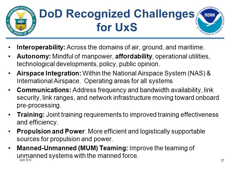 DoD Recognized Challenges for UxS Interoperability: Across the domains of air, ground, and maritime.