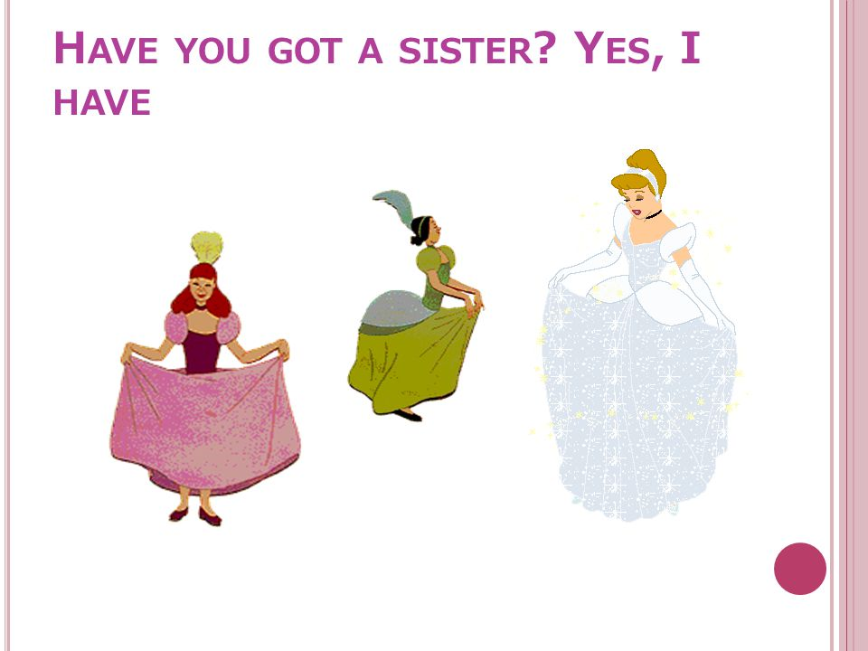 H AVE YOU GOT A SISTER ? Y ES, I HAVE