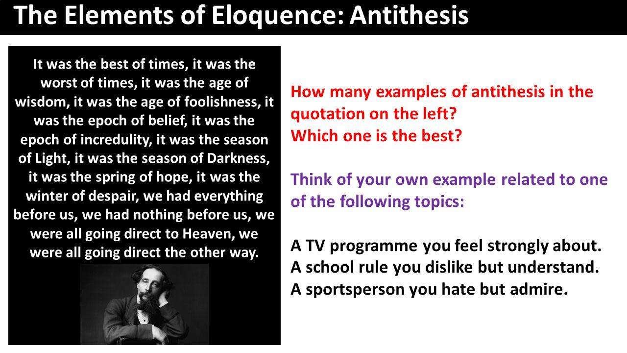 How many examples of antithesis in the quotation on the left.