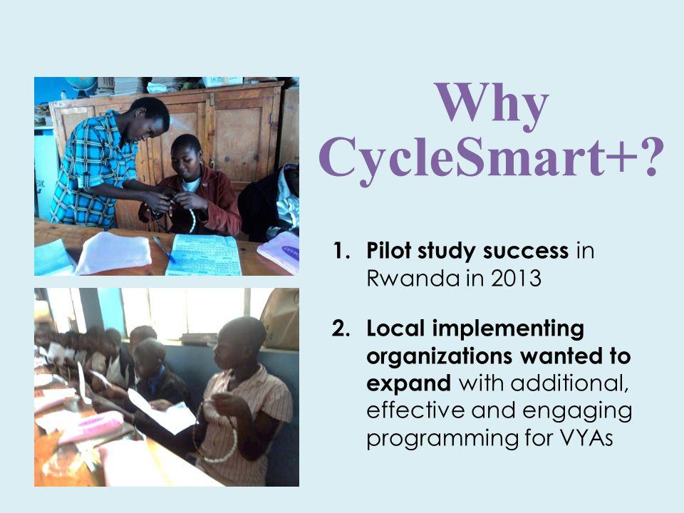 Why CycleSmart+. 1. Pilot study success in Rwanda in 2013 2.