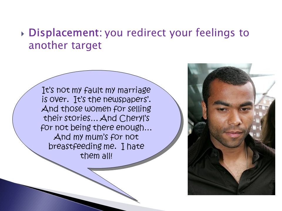  Displacement: you redirect your feelings to another target It's not my fault my marriage is over.