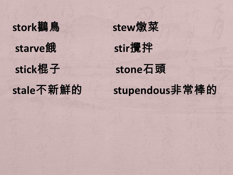 stork 鸛鳥 stew 燉菜 starve 餓 stir 攪拌 stick 棍子 stone 石頭 stale 不新鮮的 stupendous 非常棒的