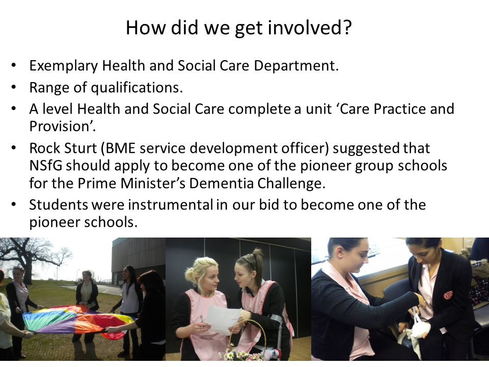 How did we get involved. Exemplary Health and Social Care Department.