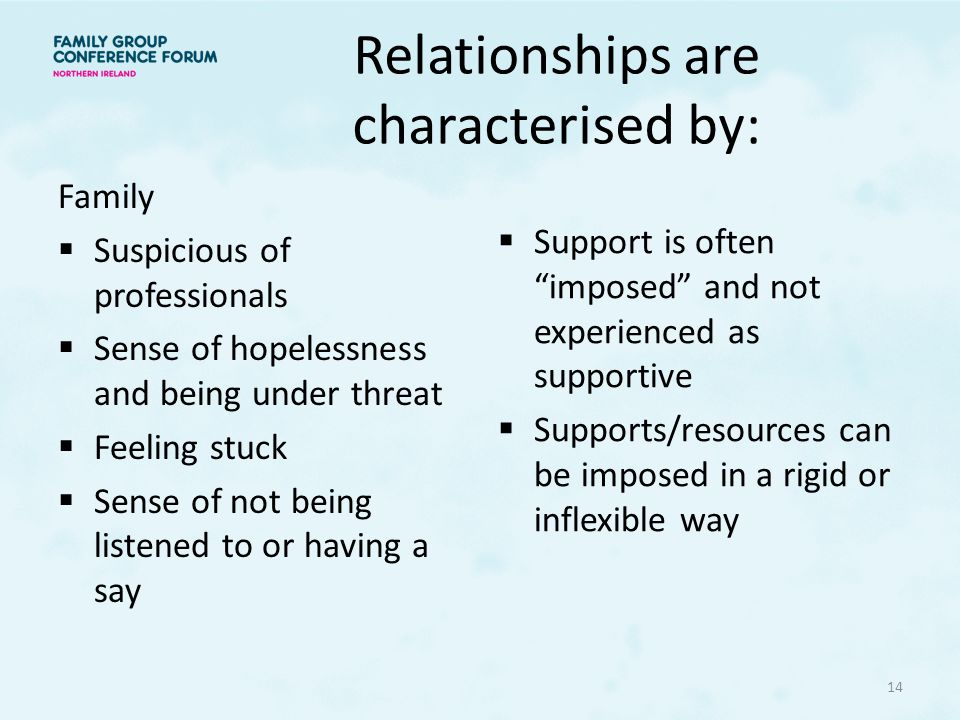Relationships are characterised by: Family  Suspicious of professionals  Sense of hopelessness and being under threat  Feeling stuck  Sense of not being listened to or having a say  Support is often imposed and not experienced as supportive  Supports/resources can be imposed in a rigid or inflexible way 14