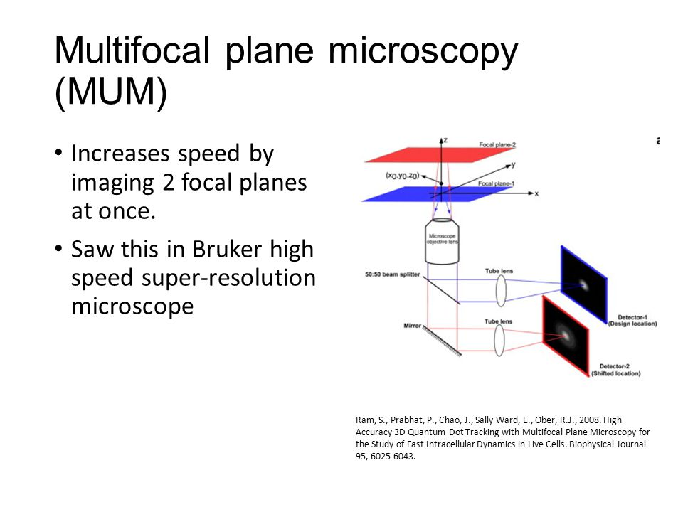 Multifocal plane microscopy (MUM) Increases speed by imaging 2 focal planes at once.