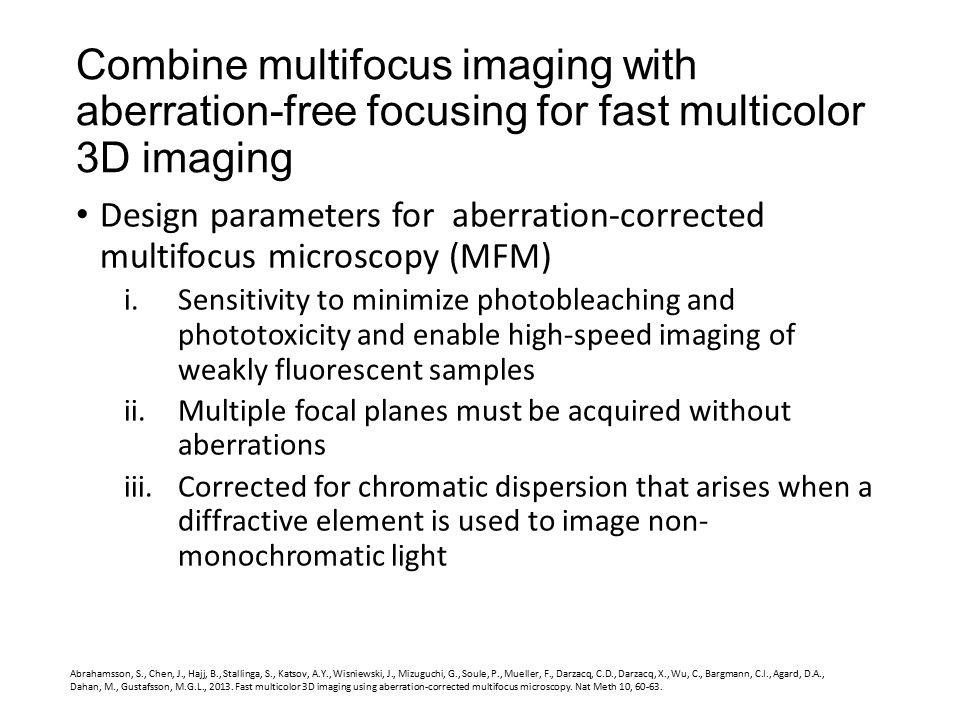 Combine multifocus imaging with aberration-free focusing for fast multicolor 3D imaging Abrahamsson, S., Chen, J., Hajj, B., Stallinga, S., Katsov, A.Y., Wisniewski, J., Mizuguchi, G., Soule, P., Mueller, F., Darzacq, C.D., Darzacq, X., Wu, C., Bargmann, C.I., Agard, D.A., Dahan, M., Gustafsson, M.G.L., 2013.