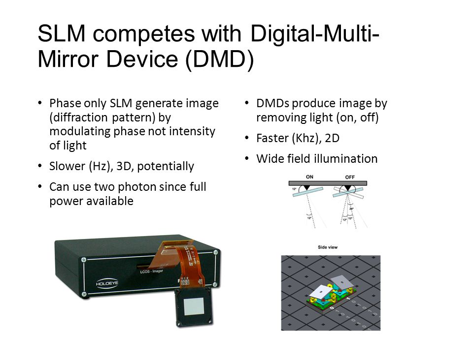 SLM competes with Digital-Multi- Mirror Device (DMD) Phase only SLM generate image (diffraction pattern) by modulating phase not intensity of light Slower (Hz), 3D, potentially Can use two photon since full power available DMDs produce image by removing light (on, off) Faster (Khz), 2D Wide field illumination