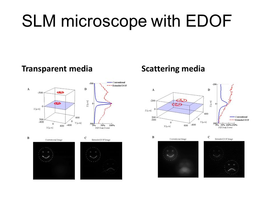 SLM microscope with EDOF Transparent mediaScattering media