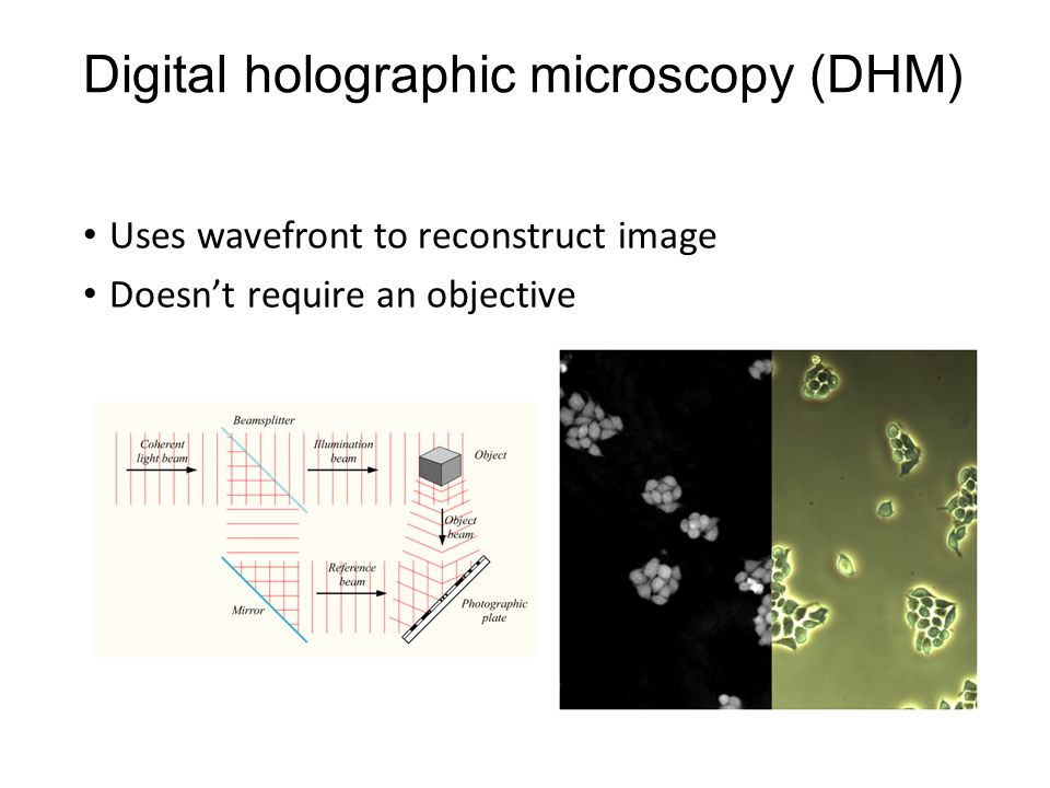 Digital holographic microscopy (DHM) Uses wavefront to reconstruct image Doesn't require an objective