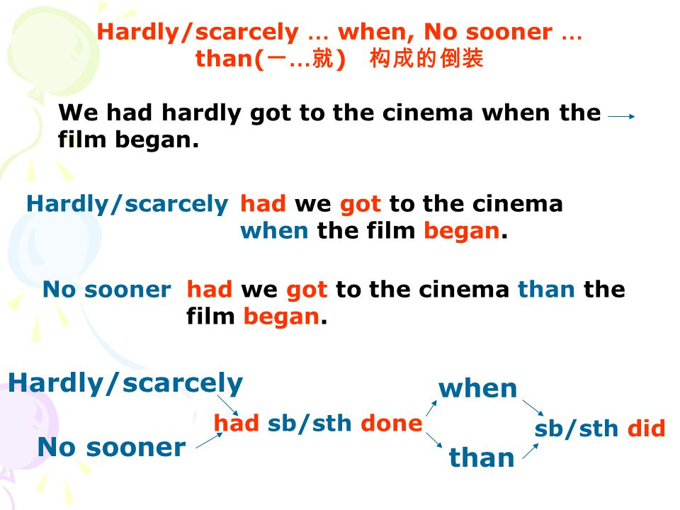 Hardly/scarcely … when, No sooner … than( 一 … 就 ) 构成的倒装 We had hardly got to the cinema when the film began. had we got to the cinema when the film be