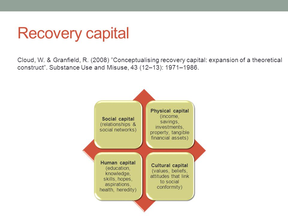 Recovery capital Social capital (relationships & social networks) Physical capital (income, savings, investments, property, tangible financial assets)