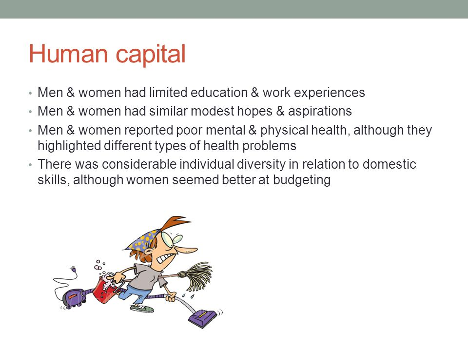Human capital Men & women had limited education & work experiences Men & women had similar modest hopes & aspirations Men & women reported poor mental